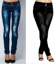 Ladies Ripped Knee sexy Skinny Jeans Womens High Waisted Jeggings 6 -24
