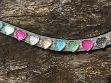 Competition Browband Crystal Browband Show Browband Pink Hearts Full Cob Pony