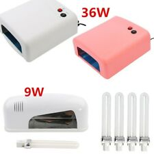 White/ Pink 9W/36W UV Lamp + 4 Bulbs Curing Gel Nail Dryer Light Timer Manicure