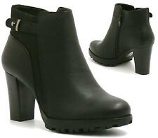 Ladies Womens Ankle Block Heel New Chelsea Riding Platform Biker Boots Shoes Siz