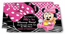 Personalised Minnie Mouse Kids Birthday Party Invitations - For 1st, 2nd etc