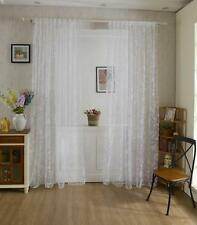 Flocking Butterfly Sheer Voile Curtain Window Balcony Hanging Drape 100*200cm