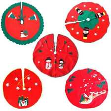 Christmas Tree Skirt Stand Tie Dress Santa Claus Elk Snowman Party Decor