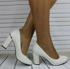 LADIES WHITE LOW MID HIGH BLOCK HEEL WORK CASUAL SMART COURT SHOES PUMPS SIZE