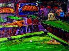 MUSEUM ART Original OIL Pool Table Art Painting Arthur Robins NYC Art Billiards