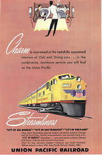 1949 Magazine Ad, Union Pacific Streamliners between Chicago and the West Coast