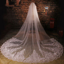 New 3M Bridal Wedding Veil Cathedral Long Lace White/Ivory Custom Free Comb 2016