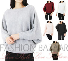 NEW Womens Oversized Rib Knit Batwing Jumper Baggy Sweater Xmas Party Jumper Top