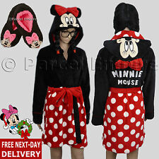 Official Disney MINNIE MOUSE ROBE / FOOTLETS Dressing GOWN Mickey HOODIE Slipper