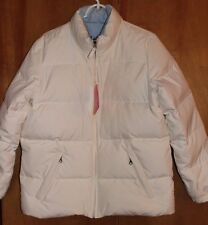 Women's NWT! Old Navy Puffer Down Jacket Coat, Reversible, White Blue, Size L