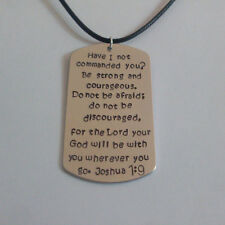 Be strong and courageous the Lord with you wherever (Joshua 1:9) Bible Necklace