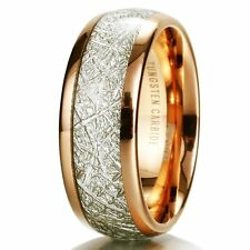 Mens 8mm Domed 14k Gold Tungsten Carbide Ring Meteorite Inlay Wedding Band