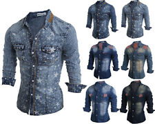 Mens Button Down Casual Denim Shirts Wash Slim Fit Long Sleeve Casual Tops MC