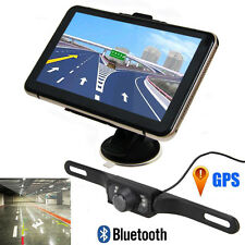 "7"" LCD Car Rearview Mirror GPS Navigation Bluetooth 8GB+Camera+Parking Sensors"