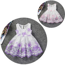 Kids Baby Girl Lace Flower Sleeveless Princess Floral Party Tulle Dress Birthday