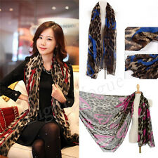 New Women Lady Leopard Long Soft Silk Chiffon Neck Scarf Wrap Shawl Scarves 17v