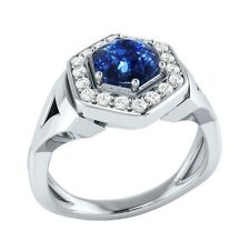 0.80 ct Natural Blue Sapphire & Certified Diamond Solid Gold Engagement Ring
