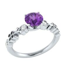 0.69 ct Natural Purple Amethyst & Certified Diamond Solid Gold Engagement Ring