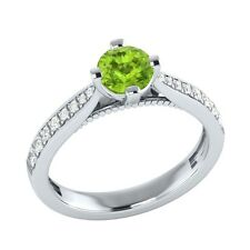 0.80 ct Natural Green Peridot & Certified Diamond Solid Gold Engagement Ring