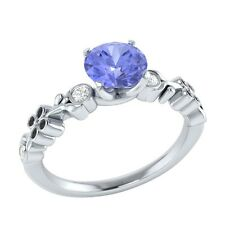 0.69 ct Natural Blue Tanzanite & Certified Diamond Solid Gold Engagement Ring