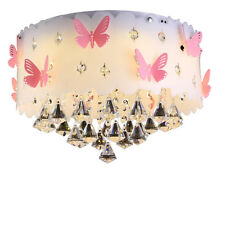 Modern LED Crystal Pink Butterfly Pendant Ceiling Chandelier Lamp Lighting CL185