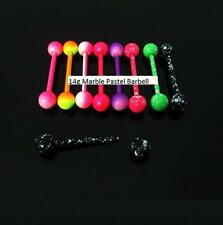 Pastel Marble Ball Tongue Navel Nipple Barbell Rings Bars Body Jewelry Piercing