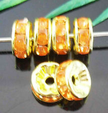 Free Ship 100Pcs Crystal&Gold Plated Spacer Beads 8mm Orange