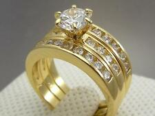Cathedral 14ct 9ct Yellow Gold Filled Wedding Engagement 3 RING SET Size 6,7,8&9