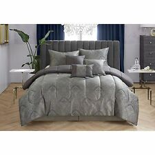 LUXURY Black Paisley Jacquard FULL QUEEN 7-Piece Comforter Set Bedspread Bedding