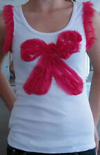 SALE LILI White Scoop-Neck Ladies Singlet with Pink Bow & Sleeves Size 8