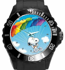 Snoopy In Colorful Parachute Round Plastic Sport Watch Unisex-8 Funky Colors