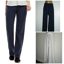 M&S NAVY / WHITE  PULL ON  STRAIGHT LEG JOGGER TROUSERS SIZE 12 - 22 NEW