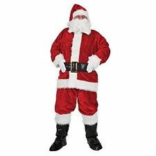 Mens Santa Suit Deluxe Plush Adult Christmas Xmas Outfit Costume Fancy Dress