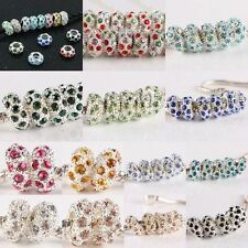 Crystal Rhinestone Silver Plated 6X11mm Big Hole Charm Beads Fit Bracelet Chain