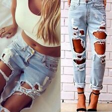 Womens Destroyed Ripped Distressed Ladies Denim Pants Boyfriend Jeans Trousers