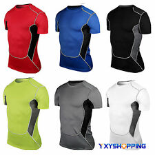 Mens Compression Under Skins Baselayer Short Sleeve T-Shirt Sports Tight Tops