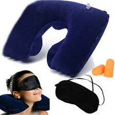 New 3 in 1 Inflatable Air Pillow+Eye Shade Mask Blinder+2Ear Plugs Travel Flight