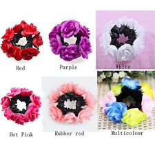 1PC Flower Bun Garland Floral Head Knot Hair Top Scrunchie Band Elastic Bracelet
