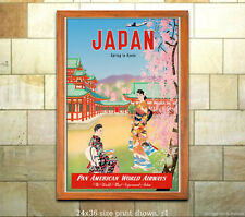 Pan Am - Japan Vintage Airline Travel Poster/Print [6 sizes, matte+glossy avail]