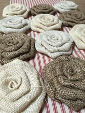 Dozen Burlap Flowers Lace Natural Ivory and White Rustic Outdoor Wedding Country