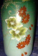 Victorian Antique Bristol Vase - Pale Green to Emerald Green - Hand Painted