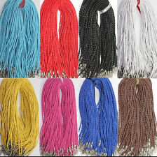 20Pcs Braid Hemp Cord Lobster Clasp Leather Chain Necklace Jewelry Making 46cm