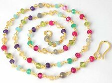 """925 Sterling Silver 24k Gold Plated 18"""" Long Multi Gemstone Faceted Rondelle"""