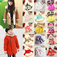 Kids Girls Winter Padded Hooded Coat Jacket Parka Fleece Outwear Boys Toddler