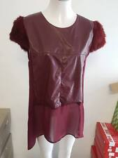 NEW Ladies Red Wine Dressy Leather Look Top with Fur - Ajoy Brand - Size 14