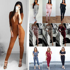 Womens Ladies Lace Up Playsuit Evening Party Jumpsuit Clubwear Rompers Overalls