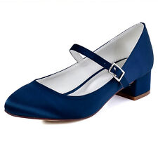 FC1614 Navy Blue Closed Toe Pump Chunky Heel Buckle Satin Evening Party Shoes