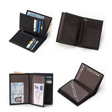 Mens Cowhide Leather Clutch Wallet Travel Passport Holder Purse With Zip Pocket