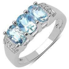 1.84 CTW Blue Topaz and White Topaz Gemstone Ring in Sterling Silver