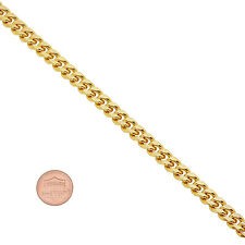 7mm 14k Gold Plated Grooved Cuban Link Curb Chain